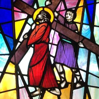 Simon van cyrene helpt jezus zijn kruis te dragen