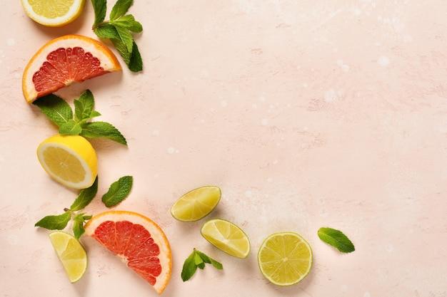Sinaasappel, citroen, grapefruit, mandarijn en limoen