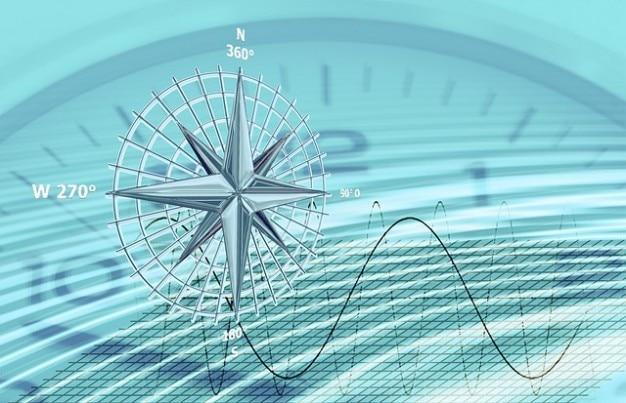 Sine klok richtingslijnen kompas tijdgolf