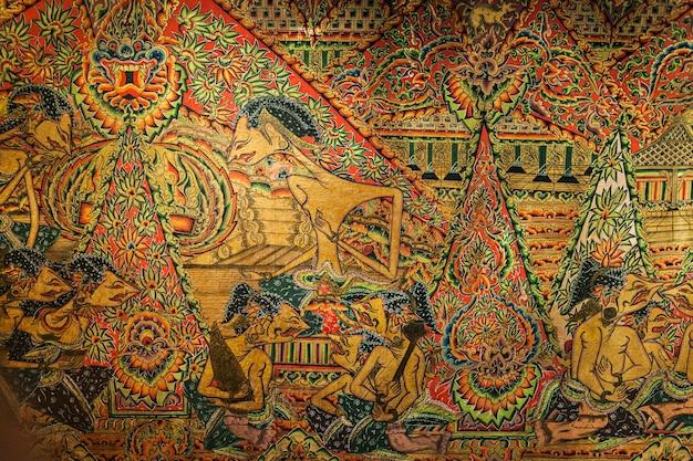 Singapore - 15 oktober 2014: javaanse kunst in het interieur van het asian civilizations museum.