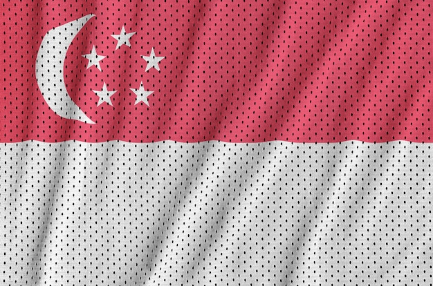 Singapore vlag gedrukt op een polyester nylon gaas