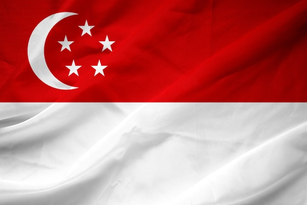 Singapore vlag patroon op de stof textuur, vintage stijl