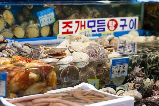 Sint-jakobsschelpen en andere schelpen op de vismarkt, seoul korea