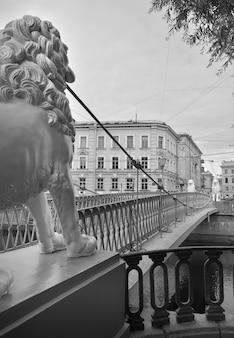 Sint-petersburg leeuwenbrug over het griboyedov-kanaal beelden van witte leeuwen