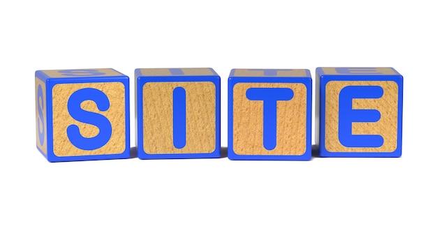 Site op houten kinderen alfabet blok geïsoleerd op wit.