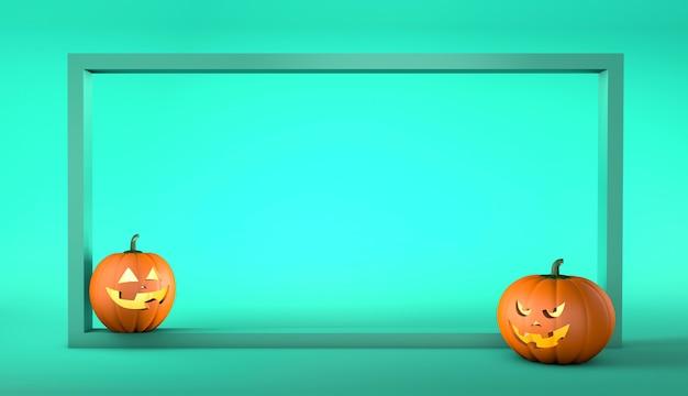 Sjabloon met een frame voor halloween en pompoenen met een lachend en eng gezicht op een korrelig