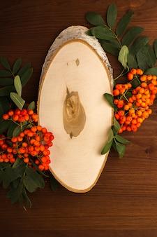 Sjabloon van de snede is een witte berk met lijsterbessentakken