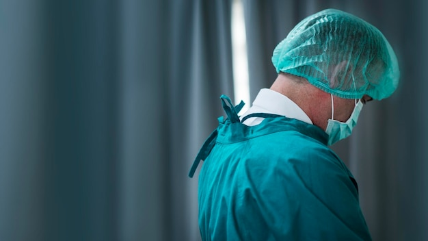 Sjabloon voor spandoek van coronavirus medisch personeel