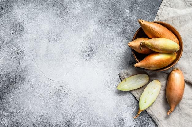 Sjalot uien, in twee helften gesneden. grijze achtergrond. bovenaanzicht. ruimte voor tekst