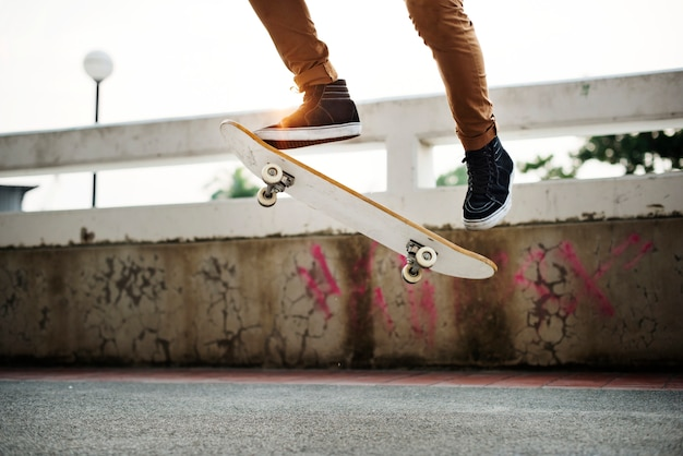 Skateboarden practice freestyle extreme sports concept