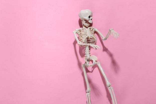 Skelet op roze helder. halloween-decoratie, eng thema