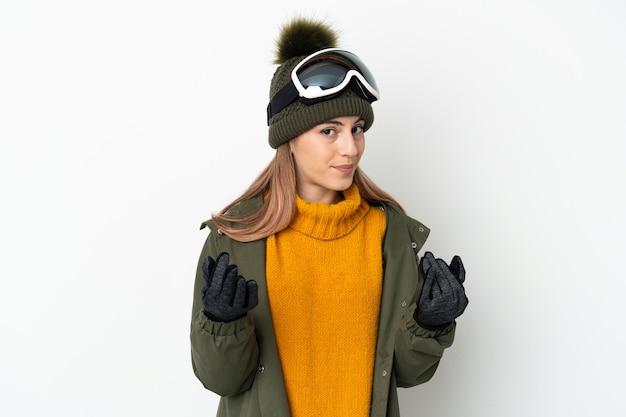 Skiër blanke vrouw met snowboard bril geïsoleerd