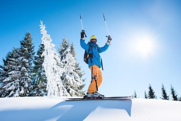 Skiër op de top van de berg