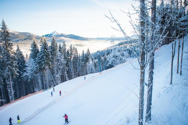 Skiërs op de skilift rijden omhoog in skigebied met prachtige bossen