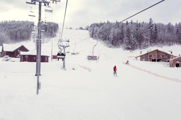Skigebied in de winter
