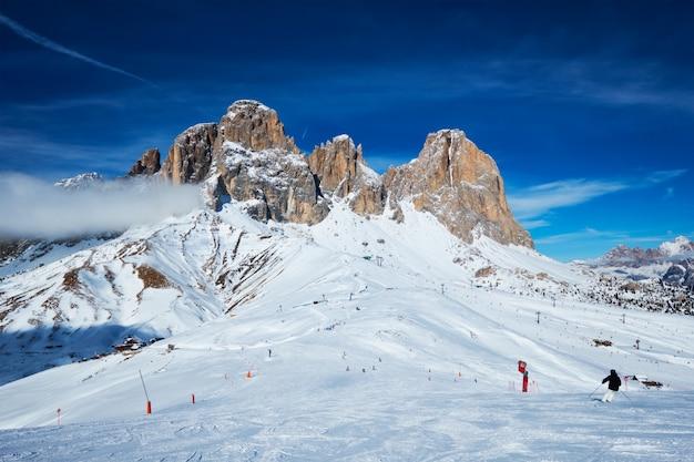 Skigebied in dolomiet, italië