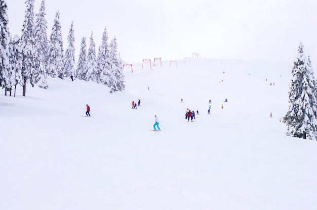 Skipiste in de winter