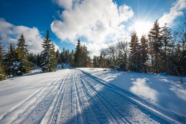 Skipistes in de sneeuw op een zonnige ijzige winterdag