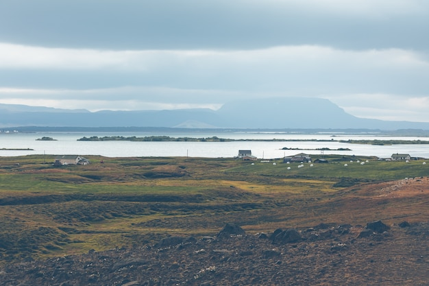 Skutustadir in het gebied van het myvatn-meer, ijsland