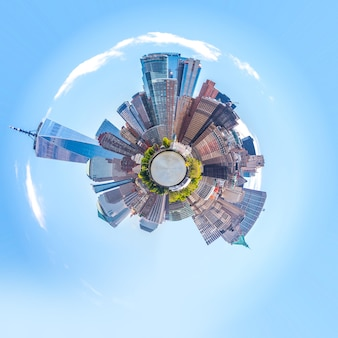 Skyline bol panorama van het financiële district van de binnenstad en het lagere manhattan in new york city usa