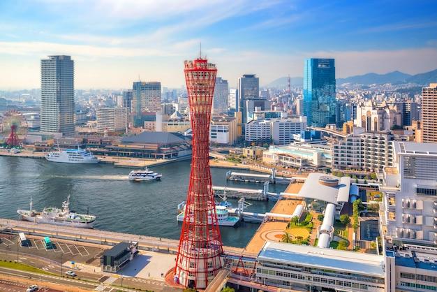 Skyline en haven van kobe in japan