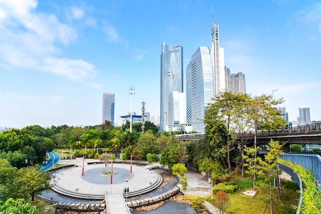 Skyline landschap van fuzhou nieuwe stad
