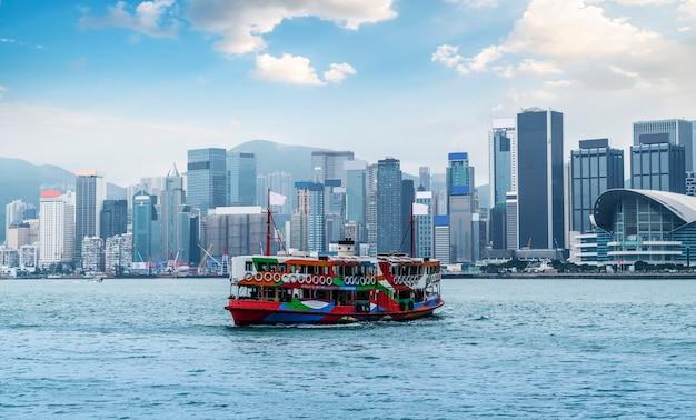 Skyline van de stad hong kong en architecturaal landschap