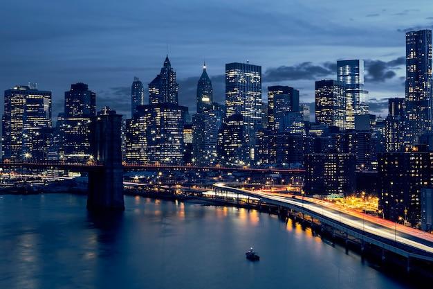 Skyline van het centrum van new york, new york, verenigde staten