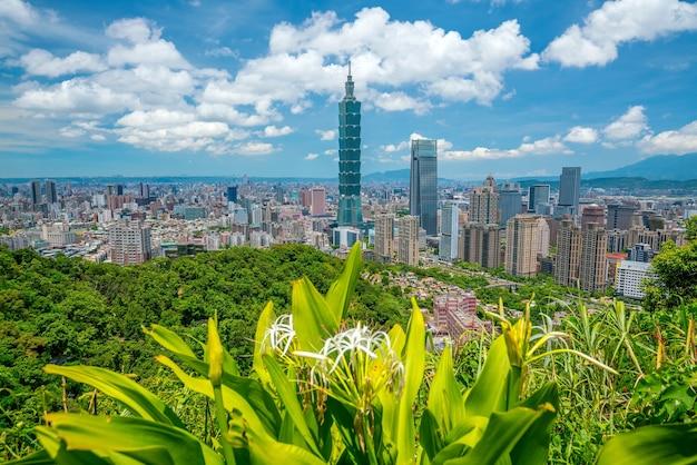 Skyline van het centrum van taipei in taiwan met blauwe lucht