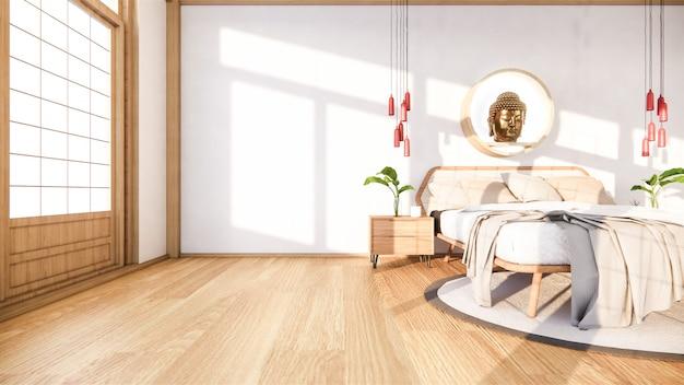 Slaapkamer bespotten met houten bed in het minimale ontwerp van japan. .