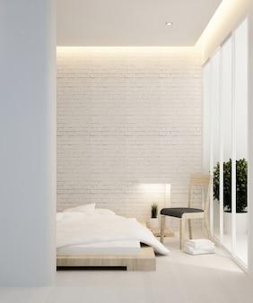 Slaapkamer en balkon in hotel of appartement - 3d interieur