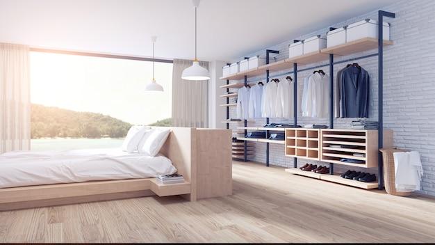 Slaapkamer en kleedkamer loft-stijl interieur
