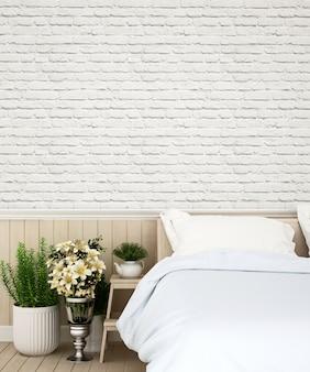 Slaapkamer en muur versieren in appartement of huis - 3d-rendering