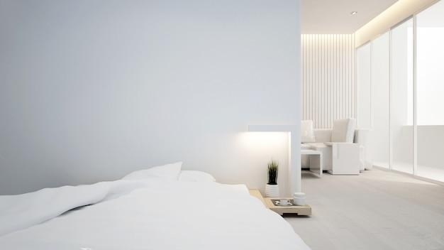 Slaapkamer en woonkamer in appartement of hotel - binnenhuisarchitectuur