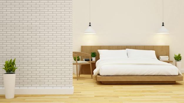 Slaapkamer en woonkamer in condominium of hotel-3d weergave