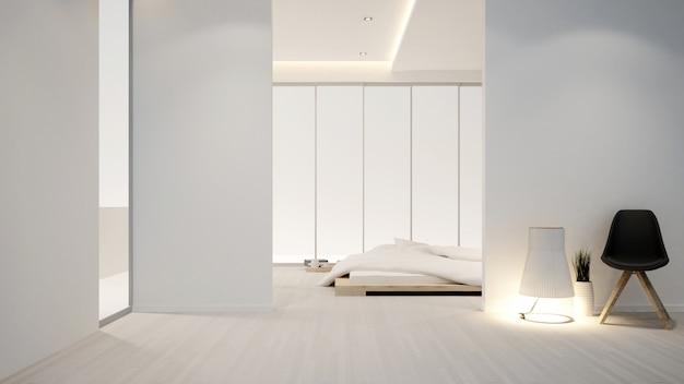 Slaapkamer en woonkamer in hotel of appartement - binnenhuisarchitectuur