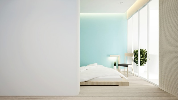 Slaapkamer en woonkamer op groene toon.