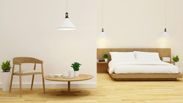 Slaapkamer en woonkamer schoon ontwerp-3d-rendering