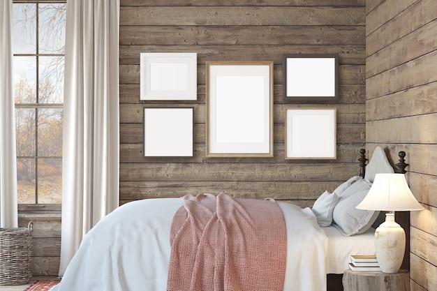 Slaapkamer in een boerderij. mockup voor interieur en frame. 3d render.