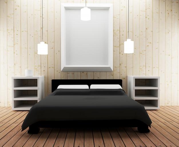 Slaapkamer in loft-ontwerp in 3d render