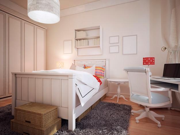 Slaapkamer in mediterraan design met een grote kleerkast en een werkruimte.