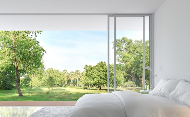 Slaapkamer in minimalistische stijl met uitzicht op de natuur 3d render. de puur witte kamer is versierd met een bed van witte stof, er zijn grote open schuifdeuren, kijkt uit op een houten terras en een grote tuin.