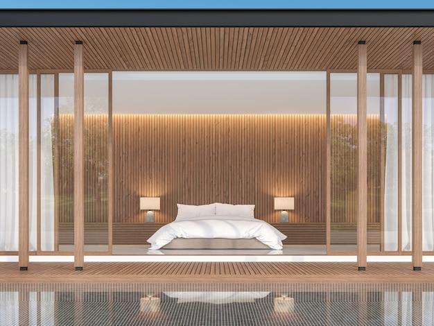 Slaapkamer in moderne eigentijdse stijl 3d render de voorkant van de kamer heeft een zwembad met zwarte tegels tile