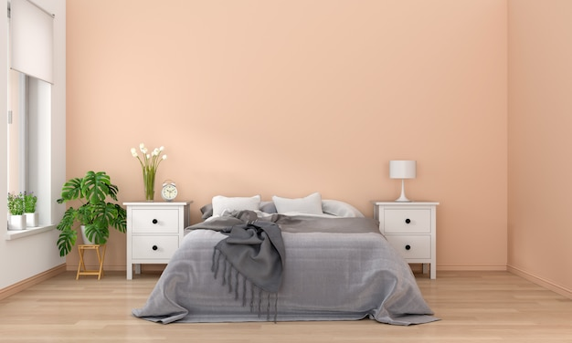 Slaapkamer interieur, 3d-rendering