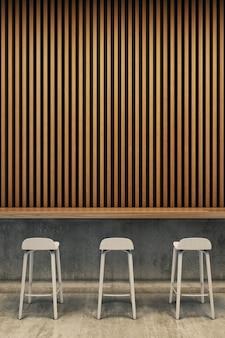 Slaapkamer interieur, bed en bijzettafel met houten paneel muur. 3d-weergave