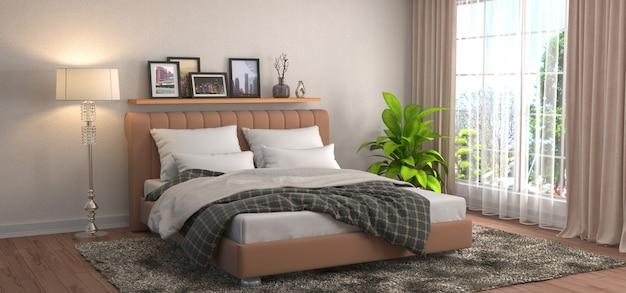 Slaapkamer interieur gemaakt illustratie