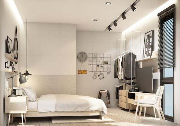 Slaapkamer interieur moderne natuurlijke stijl 3d-rendering