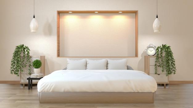 Slaapkamer japanse stijl met bed, lage tafel, kast en wandplank ontwerp naar beneden lights.3d rendering