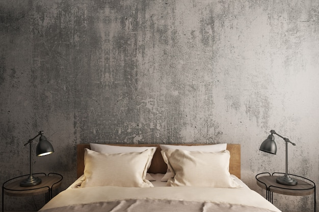 Slaapkamer loft interieur, bed en bijzettafel.