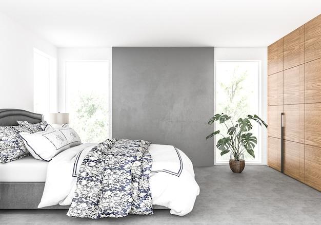 Slaapkamer met blinde muur